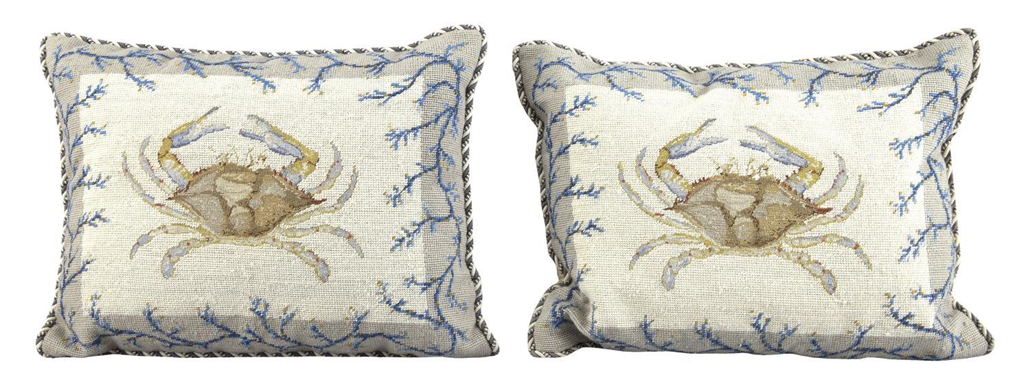PAIR OF NEEDLEWORK THROW PILLOWS Petit point crab at center of both. Seaweed design borders. Executed in blues, golds and grays. 15....