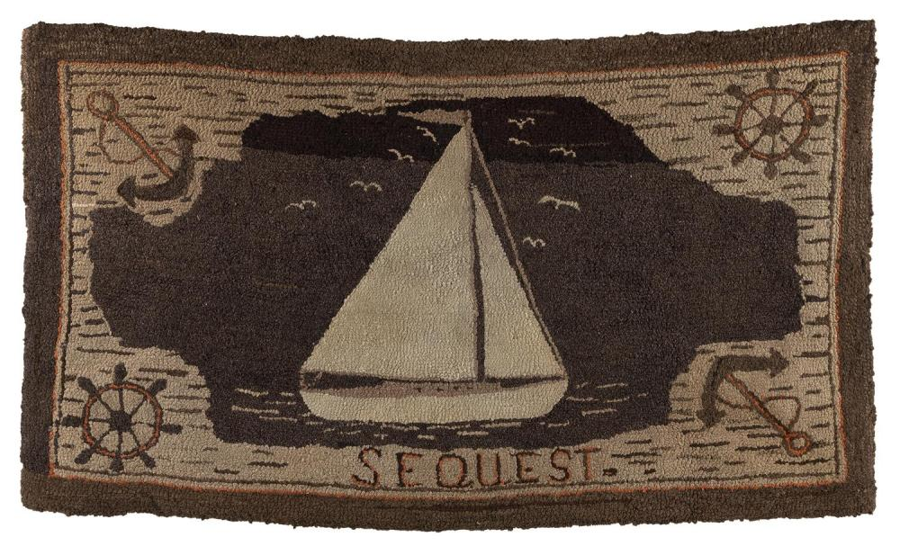 FOUR YACHTING-RELATED ITEMS Two canvas-covered cork life rings marked