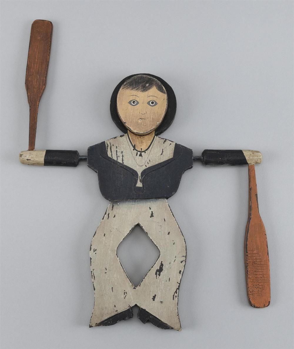 """SAILOR-FORM WHIRLIGIG Original paint with wear. Back unfinished. Height 10"""". Hung in a Cape Cod restaurant for the last 30 years."""