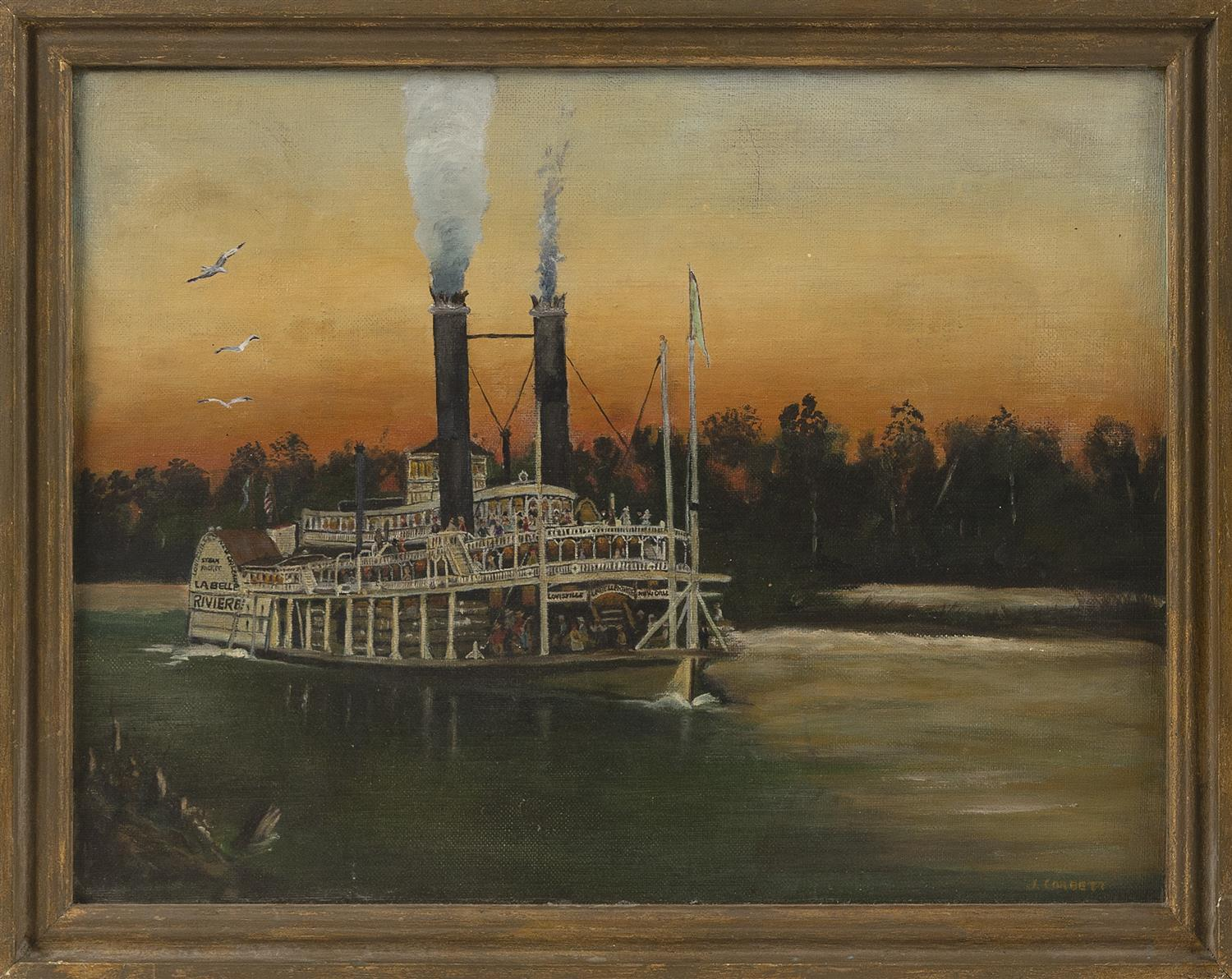 "PRIMITIVE PAINTING OF A STEAM PADDLEWHEELER Signed lower right ""J. Corbett"". Oil on artist board, 12"" x 16"". Framed 13.5"" x 17.5""."