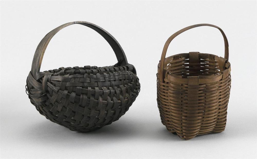 "TWO MINIATURE BASKETS A buttocks basket and an egg basket. Heights 3.5""."