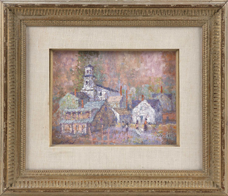 """DAVID LYLE MILLARD, Massachusetts, 1915-2002, """"Six Chimneys, P-town""""., Oil on board, 9"""" x 12"""". Framed 17"""" x 21""""."""
