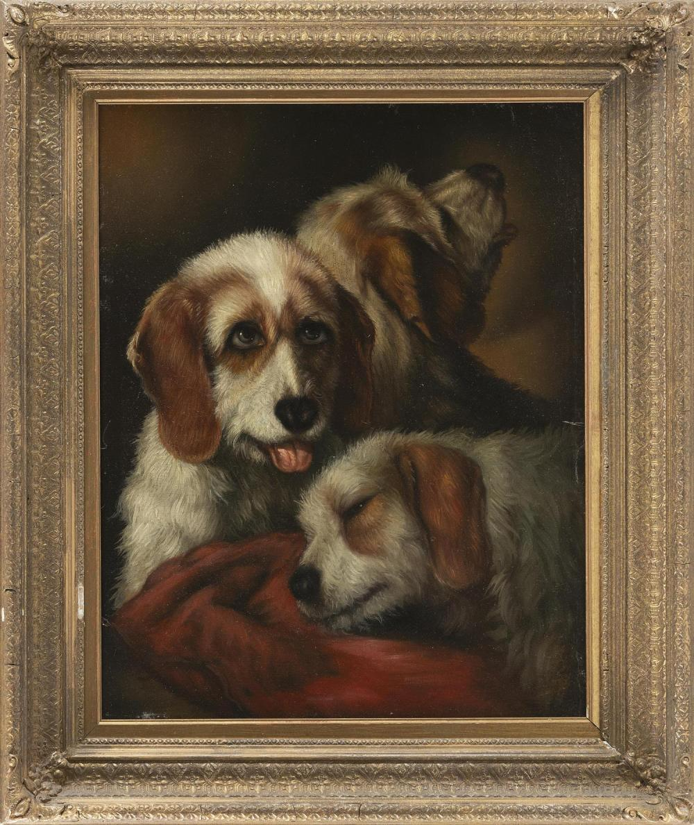 "CONTINENTAL SCHOOL, 19th Century, Portrait of three dogs., Oil on canvas, 20"" x 16"". Framed 26"" x 22""."