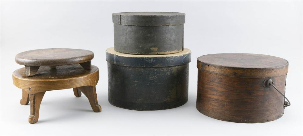 """FIVE WOODEN ITEMS Three bentwood pantry boxes, one marked """"Winchendon, Mass"""" on cover, and two small stools. Largest pantry box heig..."""