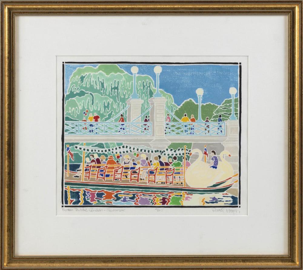 "RUTH HOGAN, Massachusetts/New Mexico, Contemporary, ""Boston Public Garden - Summer""., White line woodblock on paper, 11.25"" x 13.25""..."