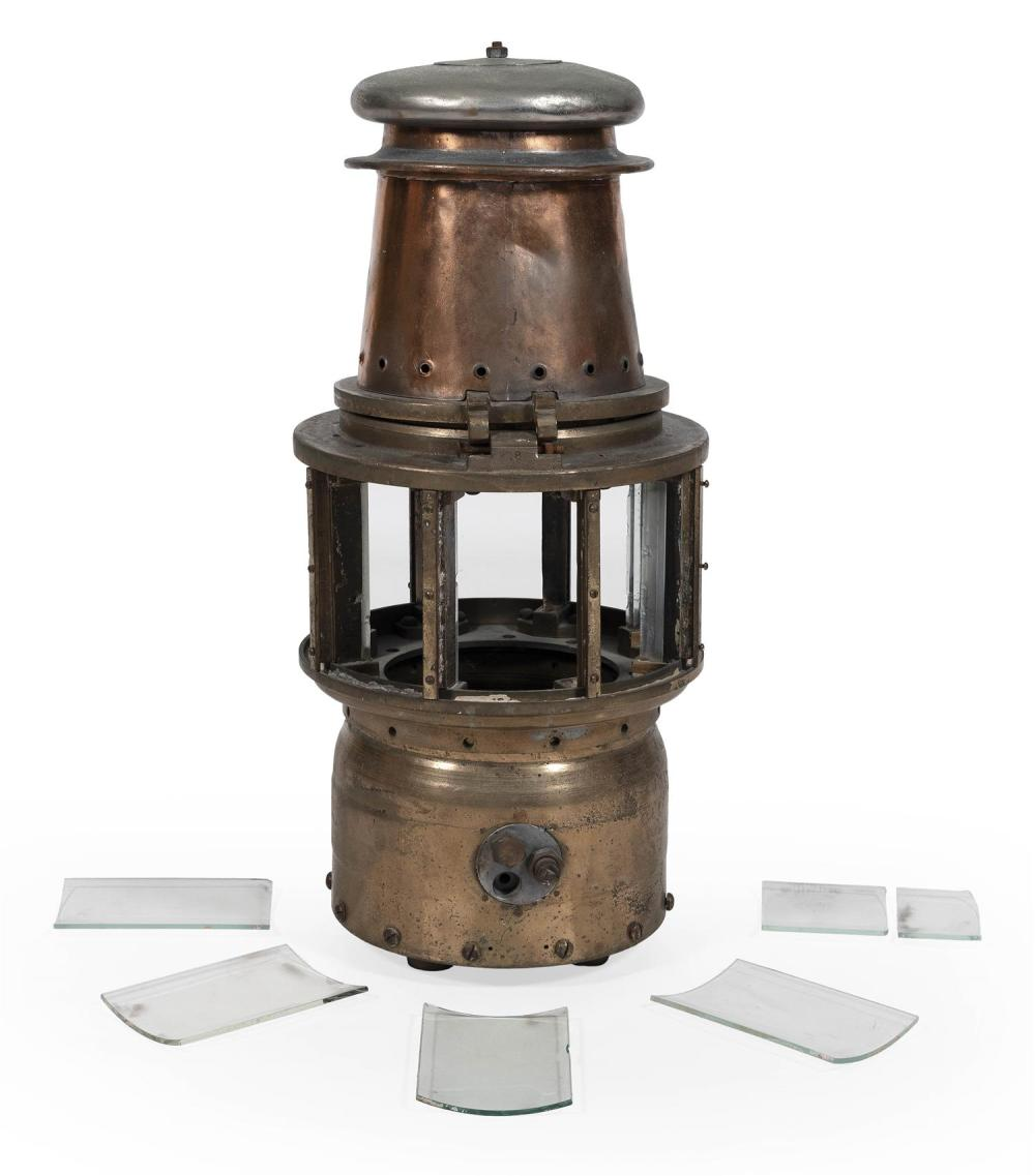 BRASS AND COPPER MARINE LANTERN Stamped 162. Includes four lenses. Height 33