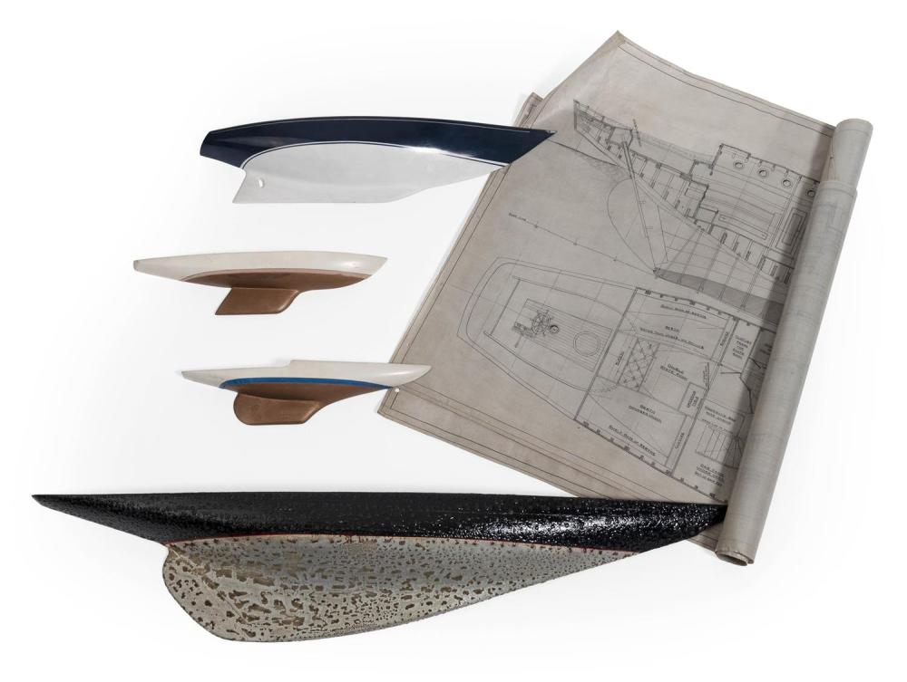 """FOUR FIBERGLASS HALF HULL MODELS Lengths from 12"""" to 33.5"""". Includes a set of blueprints for a yacht."""