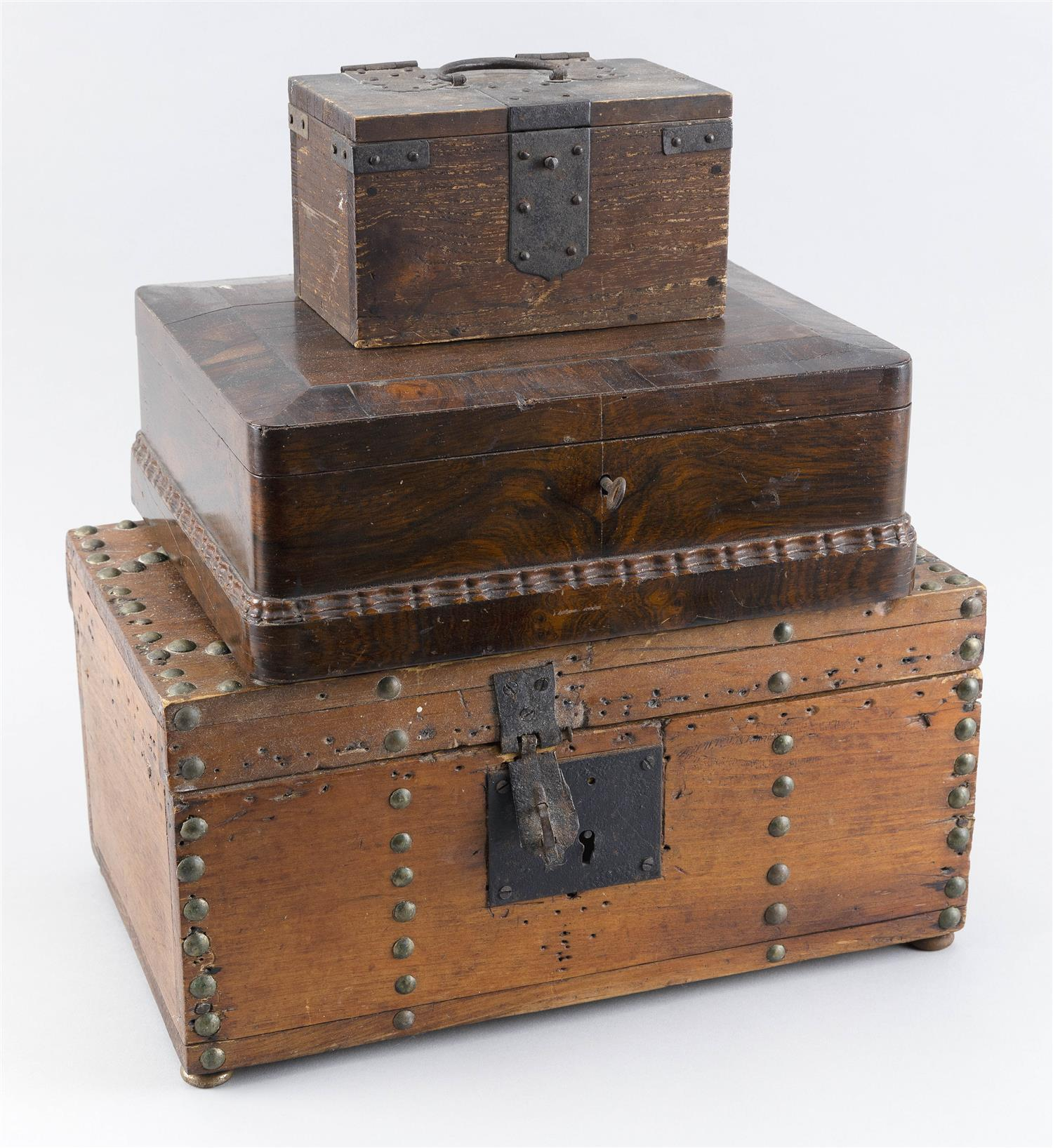 THREE SMALL LIFT-TOP BOXES One Japanese with iron mounts, one English in mahogany veneer, and one probably American in pine with bra...