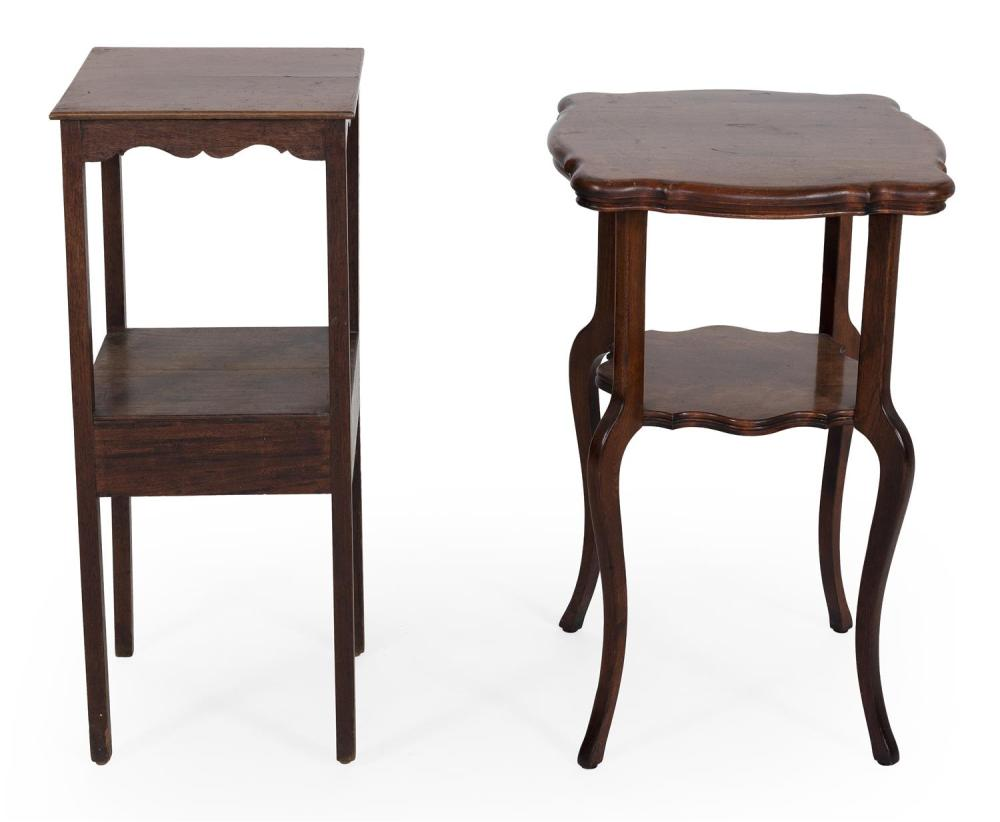 TWO STANDS 1) In pine under a brown stain. With one drawer and medial shelf. Height 32