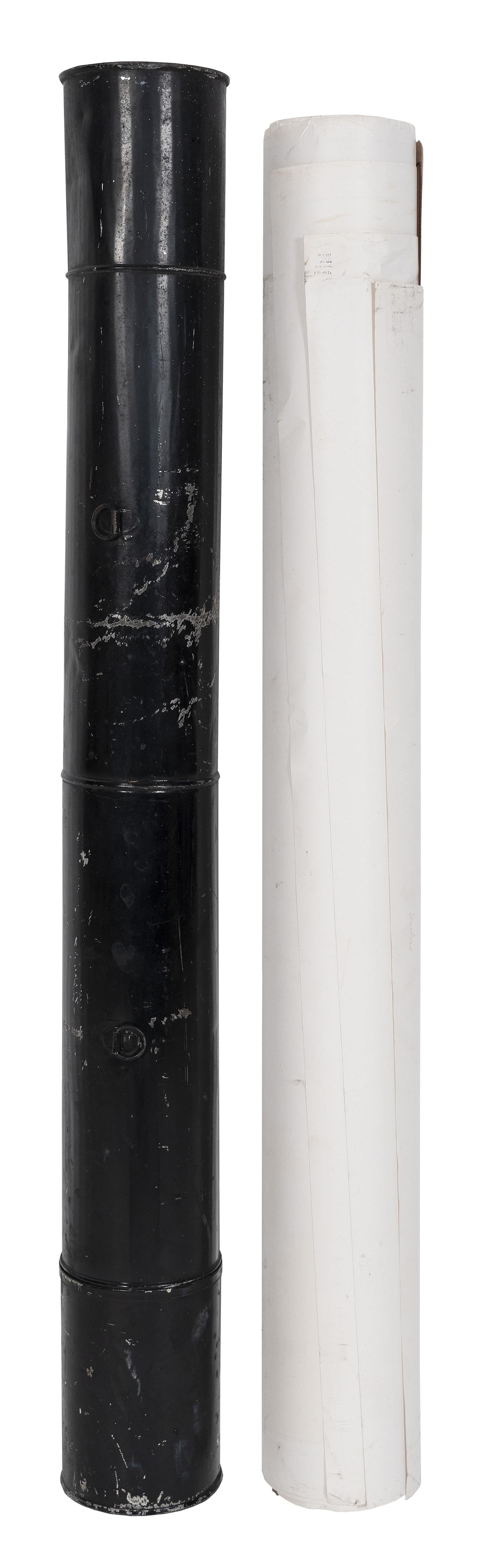 "TIN CHART TUBE Includes numerous 20th Century charts. Tube painted black and stenciled ""Charts"". Length 27""."