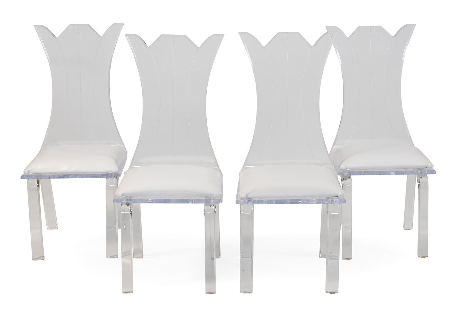 """FOUR LUCITE SIDE CHAIRS With vasiform backs, white vegan leather upholstery and rectangular legs. Unmarked. Back heights 43"""". Seat h..."""