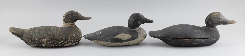 "THREE FACTORY DECOYS A Mason goldeneye drake, a Pratt black duck and an Animal Trap Company black duck. Lengths from 14"" to 16""."