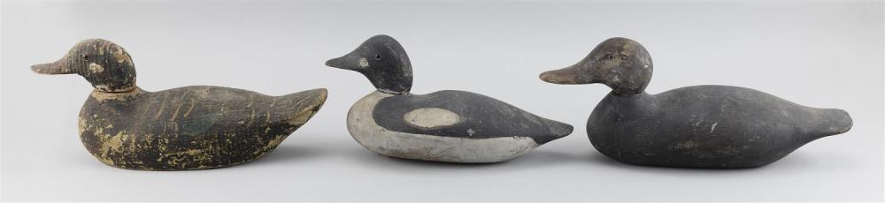 THREE FACTORY DECOYS A Mason goldeneye drake, a Pratt black duck and an Animal Trap Company black duck. Lengths from 14