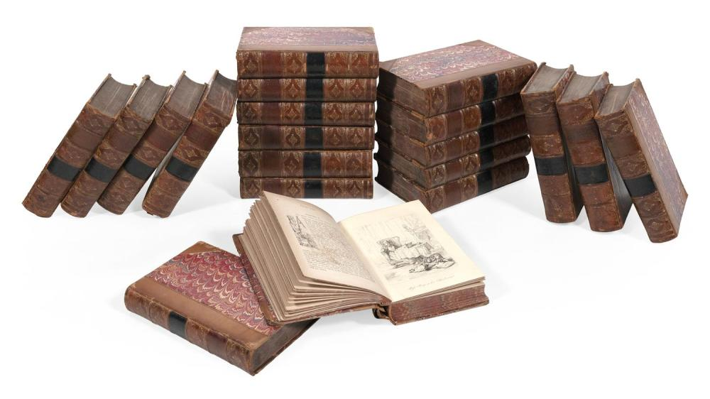 TWENTY BOOKS WITH DECORATIVE LEATHER BINDINGS