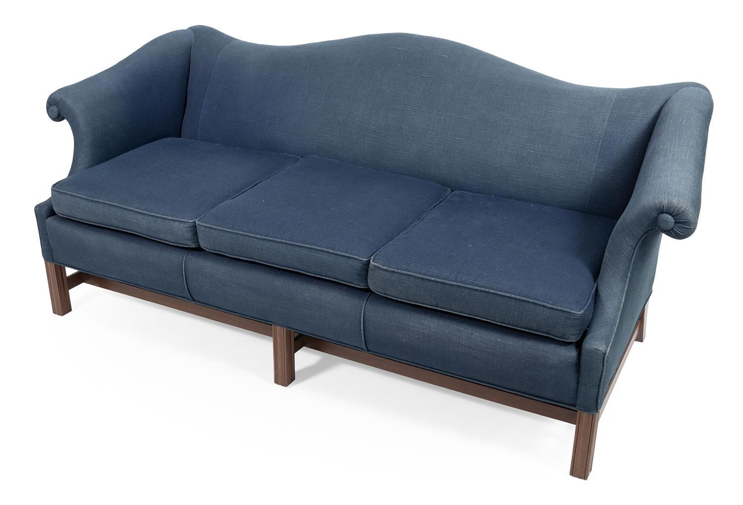 """CHIPPENDALE-STYLE CAMELBACK LOVE SEAT Blue upholstery. Back height 32.5"""". Seat height 16"""". Width 72"""". Depth 33""""."""
