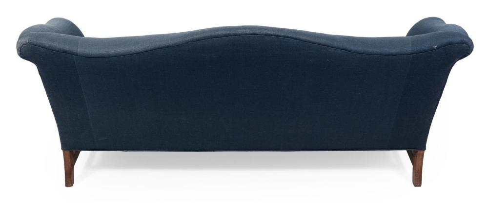 CHIPPENDALE-STYLE CAMELBACK LOVE SEAT Blue upholstery. Back height 32.5