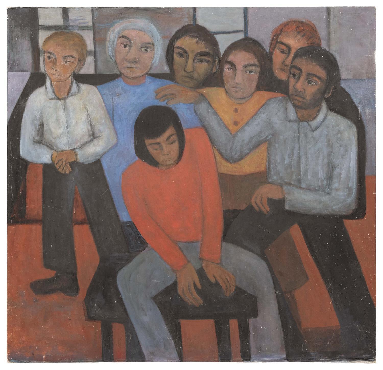 "ELIZABETH CHATER, Massachusetts, 1914-1999, The meeting., Oil on canvas, 66"" x 68"". Unframed."