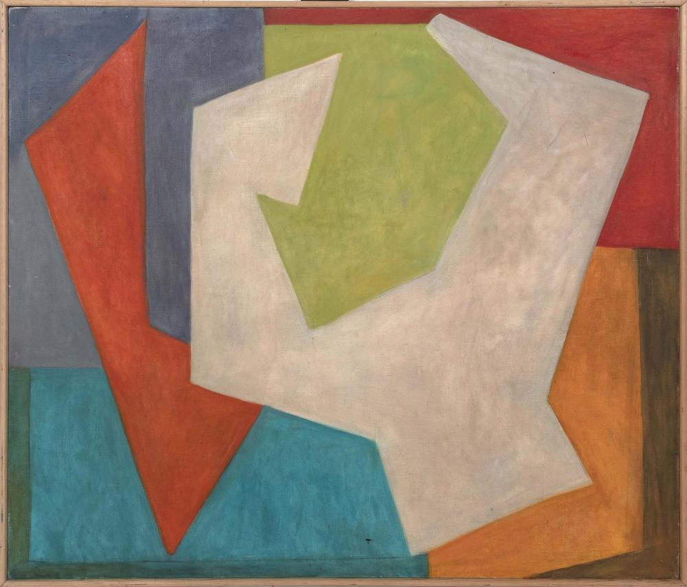 "ELIZABETH CHATER, Massachusetts, 1914-1999, Abstract., Oil on canvas, 55"" x 66"". Framed 57"" x 68""."