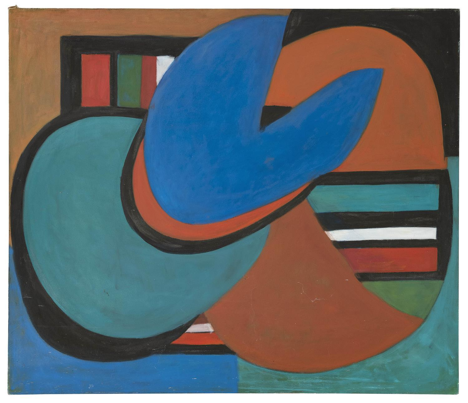 """ELIZABETH CHATER, Massachusetts, 1914-1999, Abstract., Oil on canvas, 46"""" x 56"""". Unframed."""