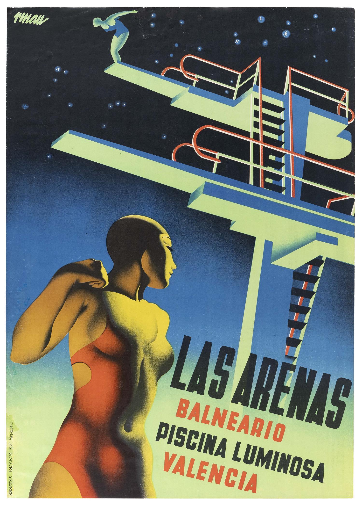 """SPANISH ART DECO TRAVEL POSTER DESIGNED BY JOSEP RENAU-MONTORO """"Las Arenas Balneario Piscina Luminosa Valencia"""", advertising the swi..."""