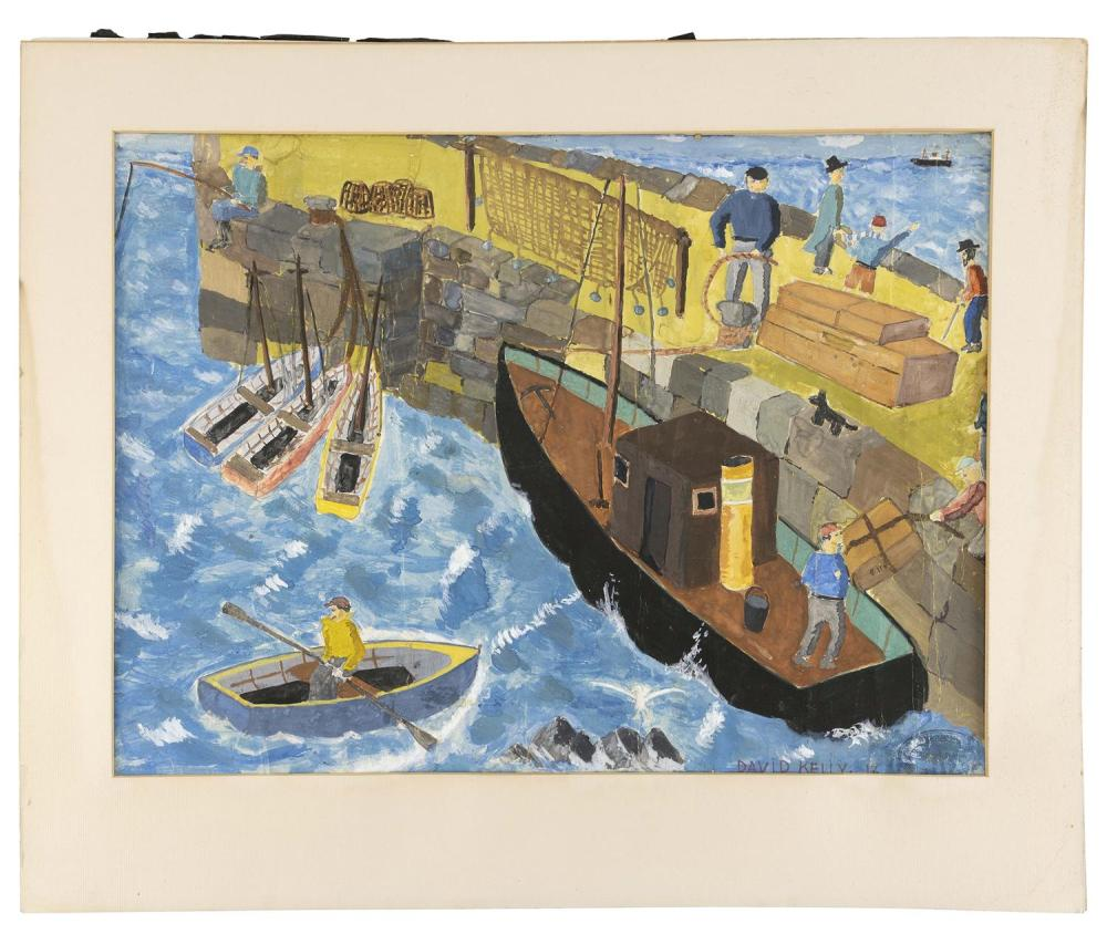 """DAVID KELLY, Provincetown, Massachusetts, 20th Century, Figures on a busy dock., Mixed media on paper, 14.75"""" x 19.5"""" sight. Unframed."""