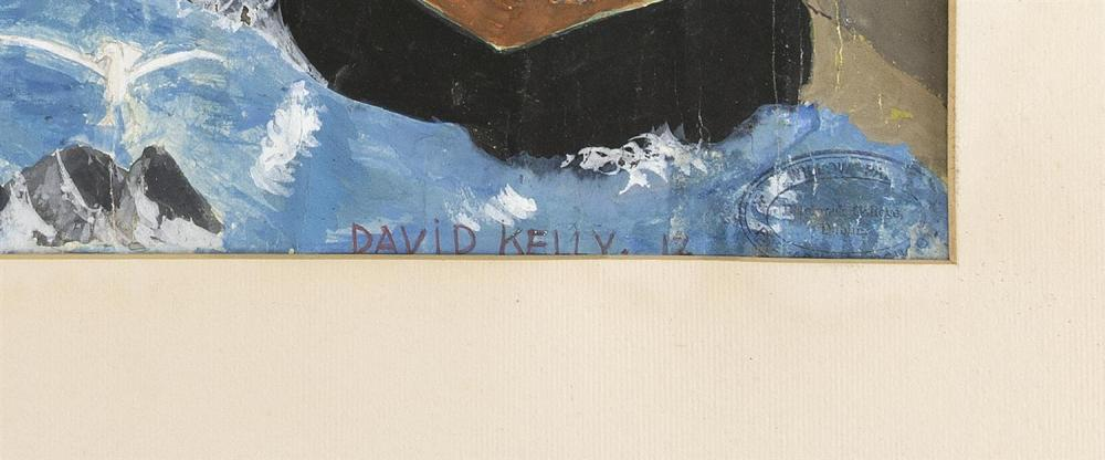 DAVID KELLY, Provincetown, Massachusetts, 20th Century, Figures on a busy dock., Mixed media on paper, 14.75