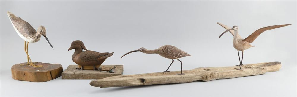 FOUR DECORATIVE BIRD CARVINGS A hooded merganser, height 11.5