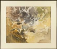 "ELIZABETH PRATT, Cape Cod, Contemporary, ""Snow Geese""., Watercolor on paper, 21.75"" x 26.5"". Framed 29.25"" x 34.25""."