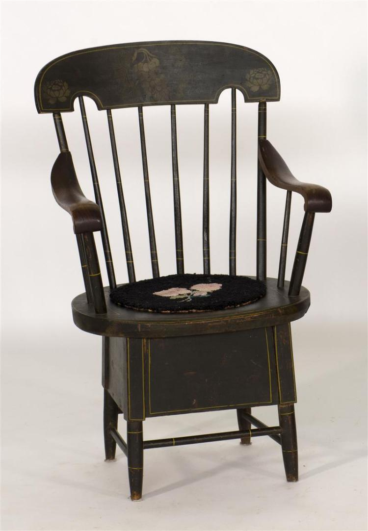 ANTIQUE AMERICAN WINDSOR ARMED COMMODE CHAIR Under Black Paint With Stenciled Grape And Leaf Design On