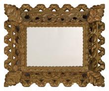 CONTINENTAL MIRROR Gilt frame with foliate design. 24.25