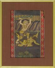 FRAMED PAINTING ON PAPER Depicting two battling demons. 11