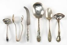 SIX PIECES OF AMERICAN STERLING SILVER FLATWARE Not monogrammed unless otherwise noted. 1) Gorham ice tongs. Length 6.5