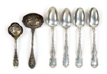 SIX PIECES OF AMERICAN STERLING FLATWARE 1) Dominick & Haff sugar sifter with shaded enamel decoration. Length 6