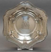 MERIDEN BRITTANIA CO. STERLING SILVER CENTER BOWL Hexagonal with central monogram and husk garland border and beaded rim. Diameter 1...