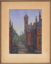 DORA PINTNER, Massachusetts, Mid-20th Century, Boston street view., Oil on canvas board, 13.25
