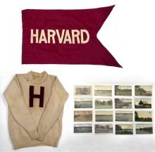 EIGHTEEN VINTAGE ITEMS RELATING TO HARVARD UNIVERSITY Wool sweater knitted with a crimson