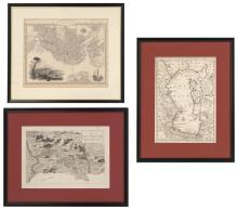 THREE BLACK & WHITE MAPS Boston Harbor, View of Italy, and Caspian Sea. Each approx. 13
