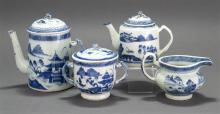 FOUR PIECES OF CHINESE EXPORT BLUE AND WHITE CANTON PORCELAIN A squat lighthouse-form covered coffeepot, height 8