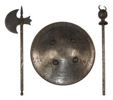 TURKISH SHIELD, AXE, AND MACE Mace in demon form. Axe with engraved figural design. Shield with hunt scenes, diameter 19