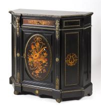ANTIQUE AMERICAN RENAISSANCE REVIVAL EBONIZED AND MARQUETRY CREDENZA The shaped top above conforming case with a short drawer and si...
