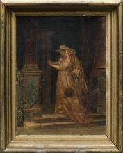 ATTRIBUTED TO CAMILLE BELLON, French, 19th Century, Admiring the ring., Oil on canvas, 9