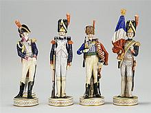SET OF FOUR GERMAN PORCELAIN NAPOLEONIC SOLDIER FIGURES Heights from 10½