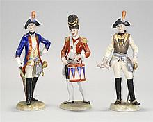 SET OF THREE GERMAN PORCELAIN NAPOLEONIC SOLDIER FIGURES Heights approximately 9½