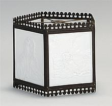 FIVE-PANEL KPM LITHOPHANE LAMPSHADE Depicts scenes of women, romance and children. Height 6½