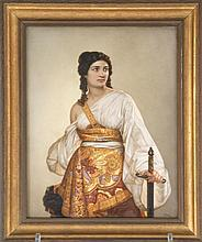 LARGE FRAMED DRESDEN HAND-PAINTED PORCELAIN PLAQUE Depicts a young woman wearing a white blouse and an intricate dress holding a swo...