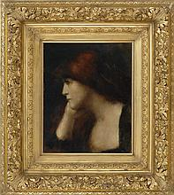 JEAN-JACQUES HENNER, French, 1829-1905, Portrait of girl in a pensive pose., Oil on canvas, 18