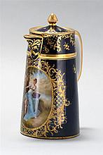 DRESDEN PORCELAIN CHOCOLATE POT In cobalt blue with gilt decoration. Large oval hand-painted panel of a young woman and child. Heigh...