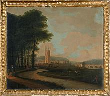 ENGLISH SCHOOL, 18th Century, Figures by a river with a castle in the background., Oil on canvas, 24