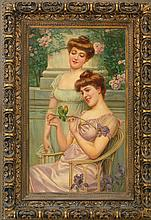 ADOLFO BELIMBAU, Italian, 1845-1938, The love birds., Oil on canvas laid down on board, 43