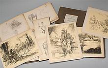 CHARLES HUARD, French, 1874-1965, Two sketch books and a portfolio of prints.